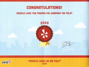 YELP! award 2020